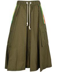 Palm Angels Cargo A-line Skirt - Green