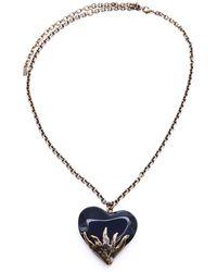 Saint Laurent Heart Necklace - Black
