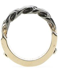 Alexander McQueen Logo Engraved Chain Ring - Metallic