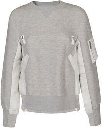 Sacai Panelled Crewneck Sweatshirt - Grey