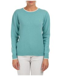MSGM Crew Neck Knit Jumper - Blue
