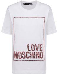 Love Moschino Glitter Logo Printed T-shirt - White