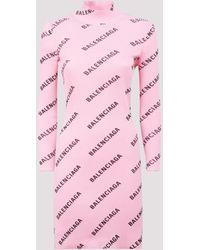 Balenciaga All Over Logo Bodycon Dress - Pink