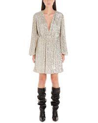 In the mood for love Sequinned V-neck Mini Dress - Metallic