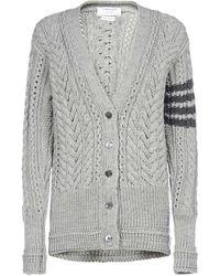 Thom Browne 4-bar Cable Knit Cardigan - Grey