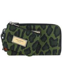 Dolce & Gabbana Logo Plaque Leopard Print Two-piece Pouch - Green
