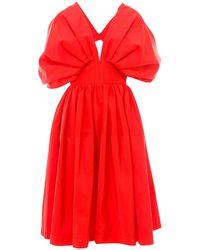 Alexander McQueen Pleated Midi Dress - Red