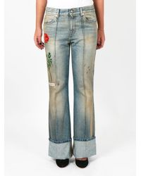 Gucci Floral Embroidered Jeans - Blue