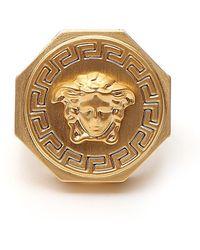 Versace Gold Tone Medusa Ring - Metallic