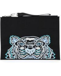 KENZO Tiger Embroidered Pouch - Black