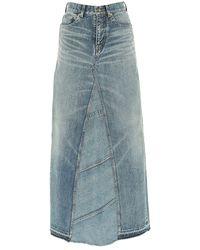 Saint Laurent High-waisted Denim Maxi Skirt - Blue