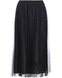 RED Valentino Redvalentino Tulle Pleated Midi Skirt - Black