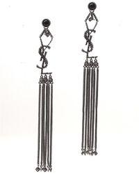 Saint Laurent Monogram Textured Tassel Earrings - Metallic