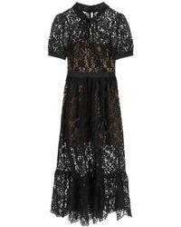 Self-Portrait Self Portrait Midi Dress In Guipure Lace - Black