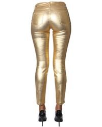 Moschino Metallic Mid Rise Slim Fit Trousers