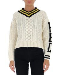 RED Valentino Redvalentino V-neck Knit Sweater - White