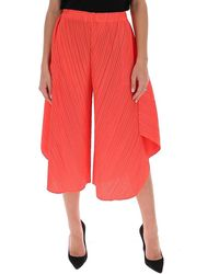 Pleats Please Issey Miyake Draped Wide-leg Trousers - Red