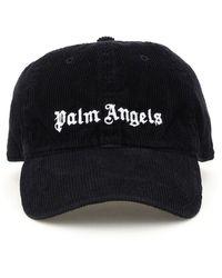 Palm Angels Logo Corduroy Baseball Cap - Black