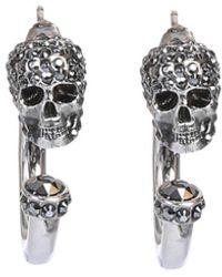 Alexander McQueen Crystal Skull Earrings - Metallic