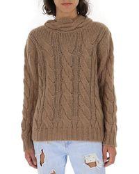Prada Tie Neck Knitted Sweatshirt - Brown