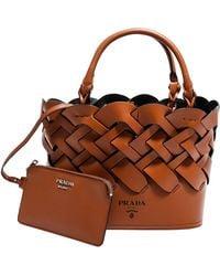 Prada Woven Bucket Bag - Brown