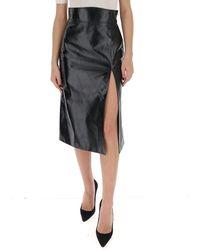 Gucci Slit-detailed Leather Pencil Skirt - Black