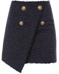 Balmain Wrap Front Tweed Skirt - Blue
