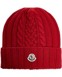 Moncler Logo Patch Ribbed Knit Beanie - Red