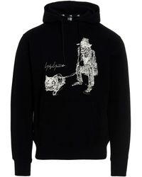 Yohji Yamamoto Graphic-printed Drawstring Hoodie - Black