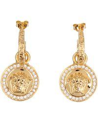 Versace Embellished Medusa Drop Earrings - Metallic