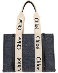 Chloé Woody Medium Tote Bag - Grey