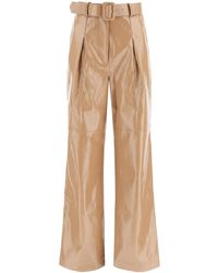 Self-Portrait Faux Leather Trousers 6 Faux Leather - Natural
