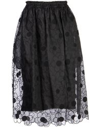 Moncler Genius Moncler X Simone Rocha Daisy Embroidered Lace Circle Skirt - Black