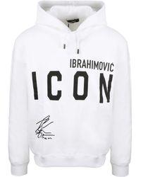 DSquared² X Ibrahimović Icon Print Hoodie - White