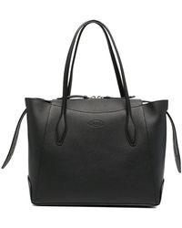 Tod's Logo Embossed Medium Shopping Bag - Black
