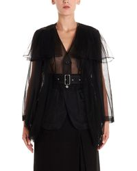 Noir Kei Ninomiya Tulle Layer Sheer Jacket - Black