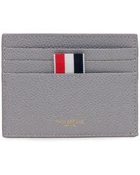 Thom Browne Rwb Stripe Cardholder - Grey