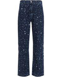 McQ Paint Splatter Printed Jeans - Blue