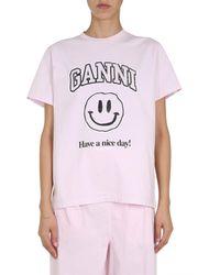 Ganni Basic Jersey T-shirt - Pink