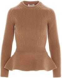 Alexander McQueen Peplum Knitted Sweater - Brown