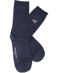 Maison Kitsuné Tricolour Fox Socks - Blue