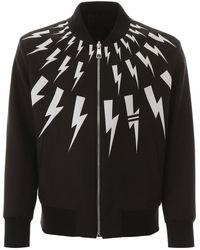 Neil Barrett Lightning Bolt Reversible Bomber - Black