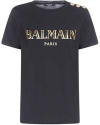 Balmain Logo Print Button Detail T-shirt - Black