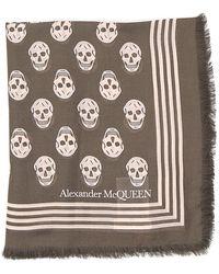 Alexander McQueen Biker Skull Scarf - Brown