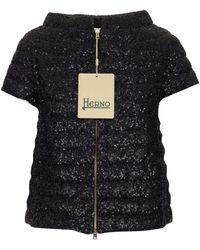 Herno Leda Sequin Embellished Zipped Jacket - Black