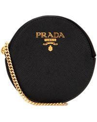 Prada Logo Chain Coin Pouch - Black