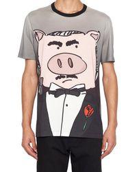 Dolce & Gabbana Pig Print T-shirt - Grey