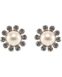 Alessandra Rich Crystal Embellished Pearl Clip On Earrings - Metallic