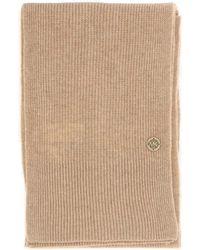 MICHAEL Michael Kors Logo Plaque Ribbed Knit Scarf - Natural