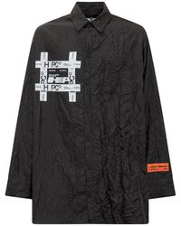 Heron Preston Tyvek Logo Patch Creased Shirt - Black